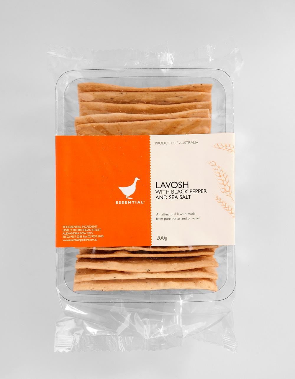 The Essential Ingredient Lavosh with Cracked Black Pepper & Sea Salt 200g