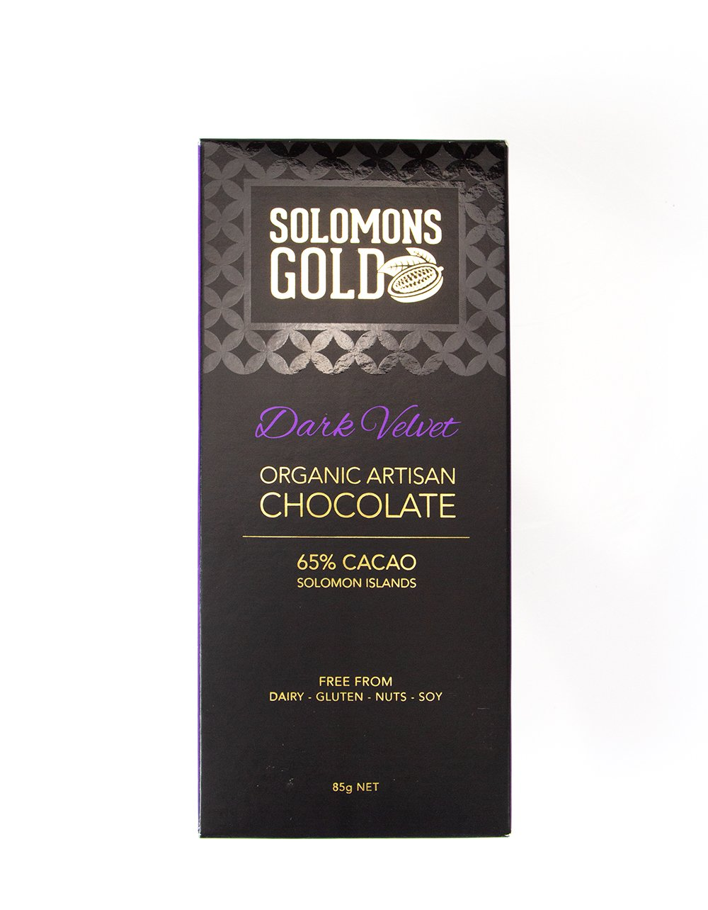 BEST BEFORE SPECIAL - Solomons Gold Dark Velvet Organic Chocolate 65% 85g