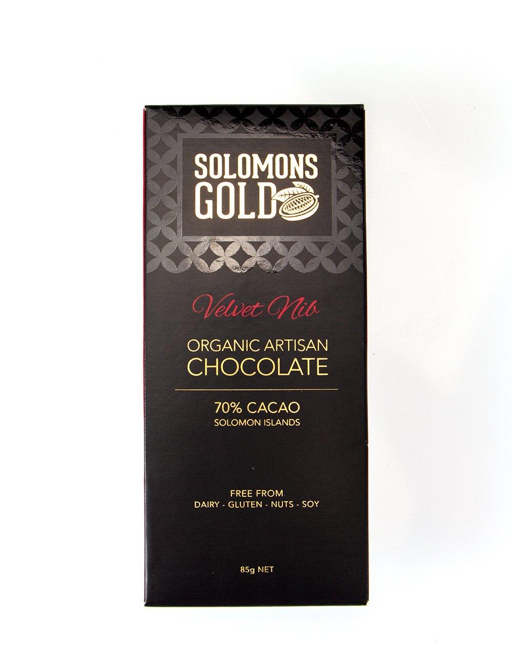 Solomons Gold Velvet Nib Organic Artisan Chocolate 70% Cacao 85g
