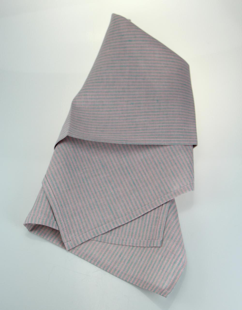 The Essential Ingredient Pure Linen Tea Towel - Pink/Green 47cm x 80cm