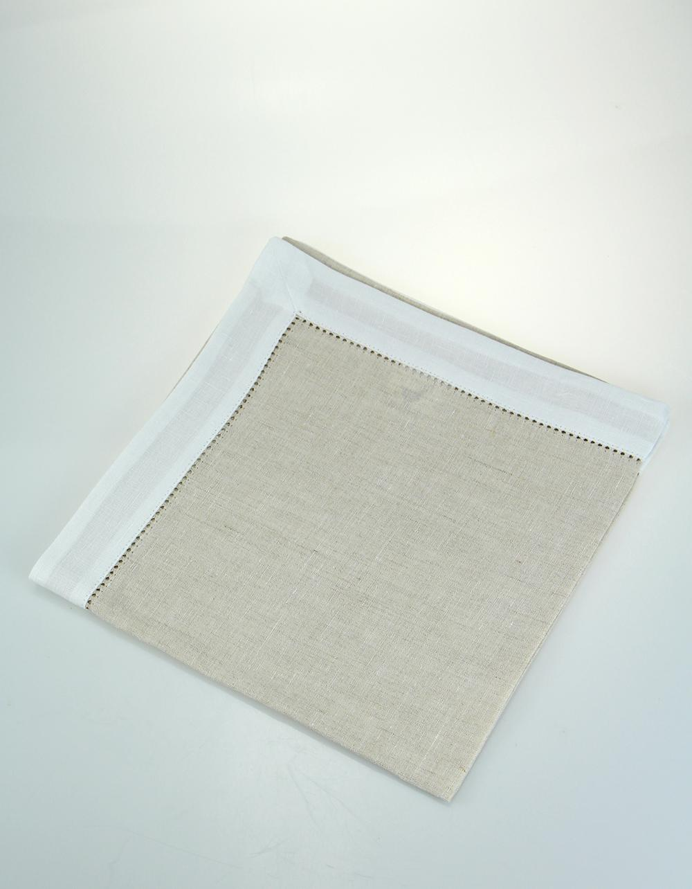 The Essential Ingredient Deluxe Pure Linen Table Napkin - Natural/White 45cm x 4
