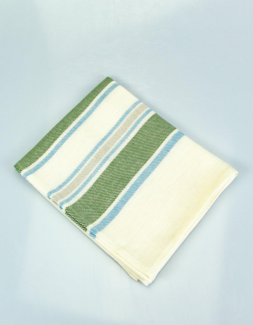 The Essential Ingredient Pure Linen Tea Towel - Green/Blue Stripes 80cm x 47cm