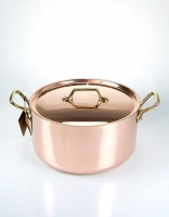 De Buyer Copper Stewpan with Brass Handle and Lid 24cm