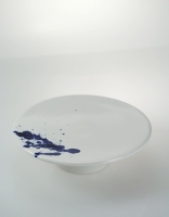 Cumella Ceramic Cheese, Ham and Tapas Plate - White/Indigo 18.5cm x 5cm