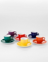 Vista Alegre Coffee Cup & Saucer Set of 6 - Various Colours