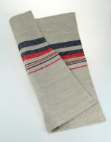 The Essential Ingredient Pure Linen Tea Towel - Natural/Red/Blue 47cm x 80cm