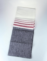 The Essential Ingredient Pure Linen Table Runner - Charcoal and Red Stripe 47cm