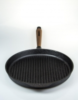 Skeppshult Cast Iron Grill Pan with Walnut Handle 28cm