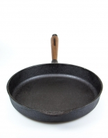 Skeppshult Cast Iron Deep Frying pan with Walnut Handle 28cm