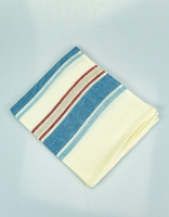 The Essential Ingredient Pure Linen Tea Towel - Blue/Red Stripes 80cm x 4cm