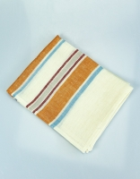 The Essential Ingredient Pure Linen Tea Towel - Orange/Red/Blue Stripes 80cm x 4