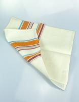The Essential Ingredient Pure Linen Tea Towel - Orange/Red/Blue Stripes 80cm x 4