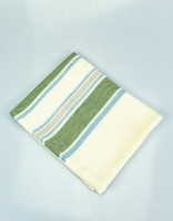 The Essential Ingredient Pure Linen Tea Towel - Green/Blue Stripes 80cm x 47cm