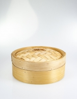 Bamboo Steamer Basket with Lid 25cm